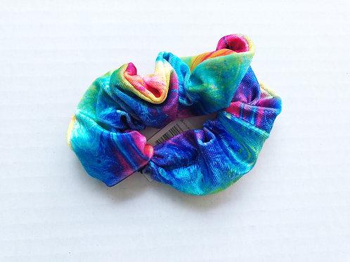 Rainbow or Pastel Tie Dye Velvet Scrunchie