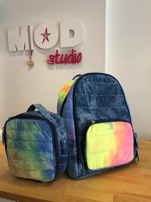 Bari Lynn Color blocked Denim & Neon Tie-Dye  Backpack