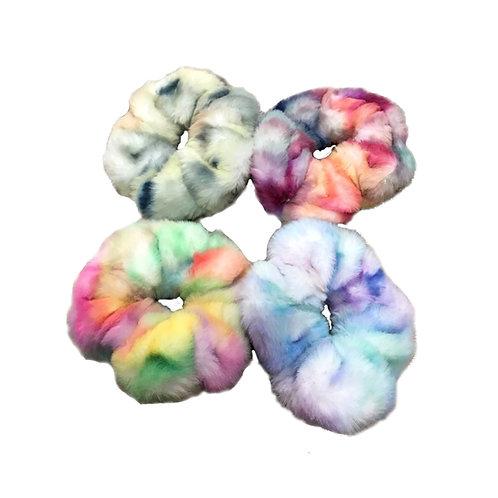 Tie Dye Furry Scrunchies