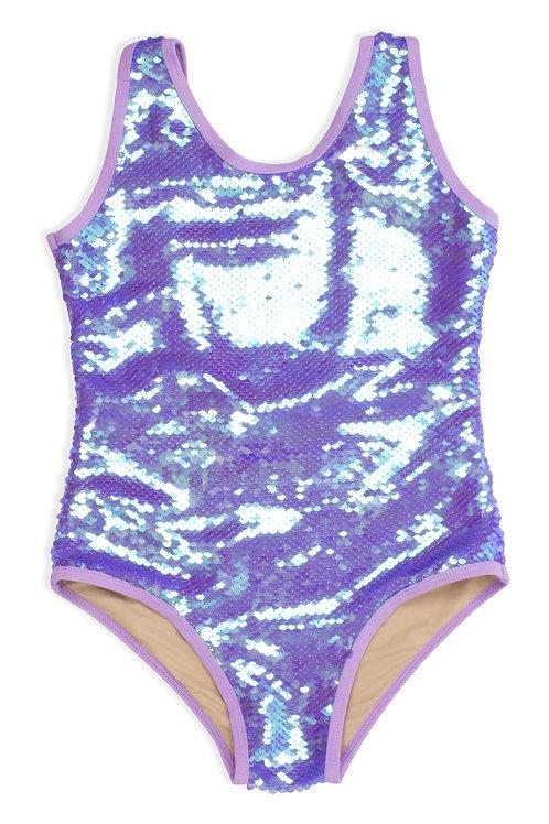 Purple Sequin One Piece Swimsuit