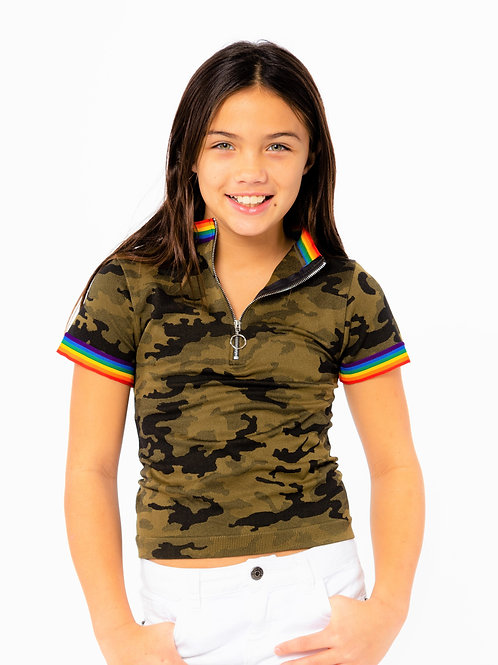 Camo Zip Front T-Shirt with Rainbow trim