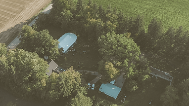 Country wedding captured by drone aerial