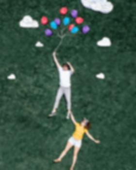 loving couple floating on creative photo