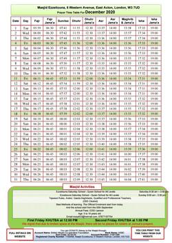 Prayers Timetable for December 2020- Mas