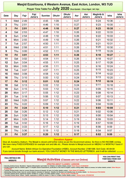Prayers Timetable for July  2020- Masjid