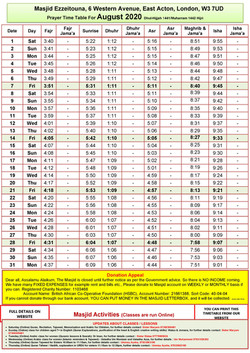 Prayers Timetable for August 2020- Masji