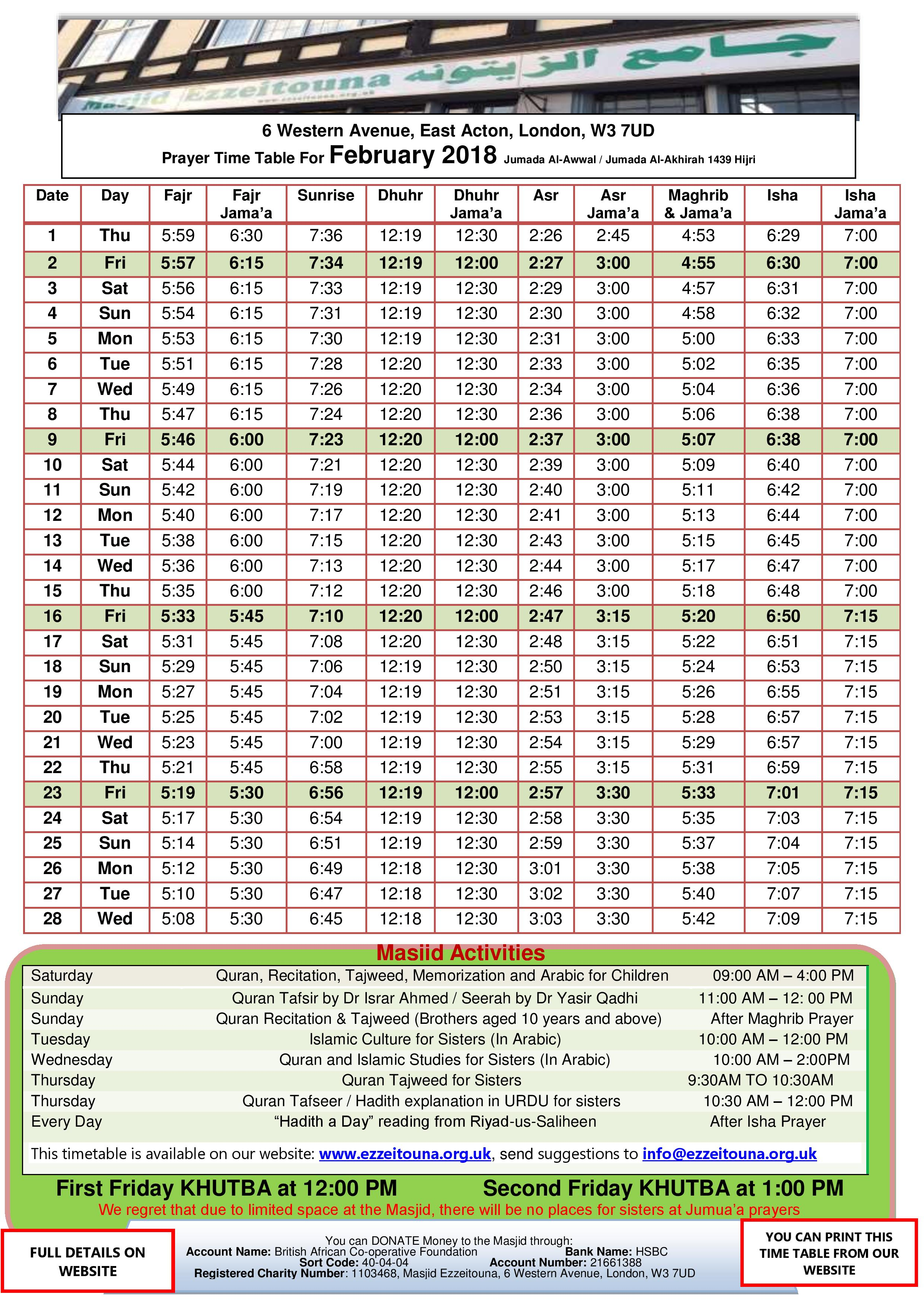 Prayers Timetable for February 2018- Masjid Ezzeitouna