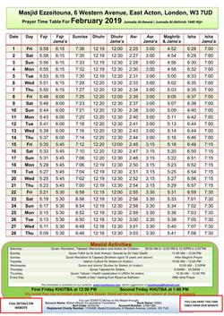 Prayers Timetable for Feb 2019 - Masjid