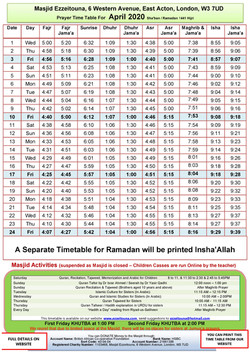 Prayers Timetable for April 2020- Masjid
