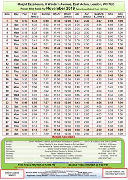 Prayers Timetable for November 2019- Mas