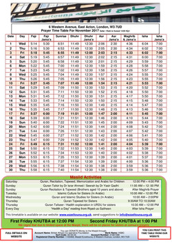 Prayers Timetable for November 2017   - Masjid Ezzeitouna
