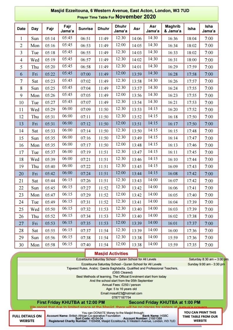 Prayers Timetable for November 2020- Mas