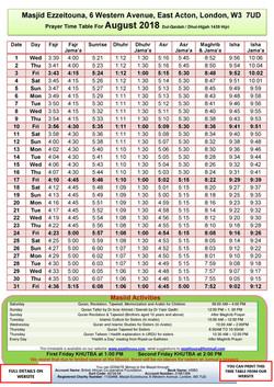 Prayers Timetable for August  2018- Masj