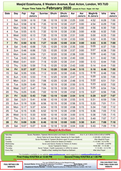 Prayers Timetable for February 2020- Mas