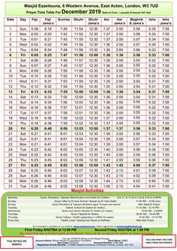 Prayers Timetable for December 2019- Mas