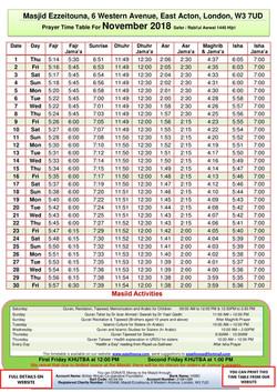 Prayers Timetable for November 2018- Mas