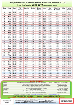 Prayers Timetable for June 2019- Masjid