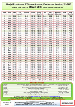 Prayers Timetable for March 2019- Masjid