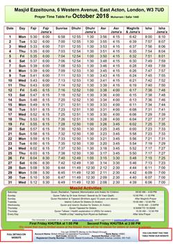 Prayers Timetable for October 2018- Masj