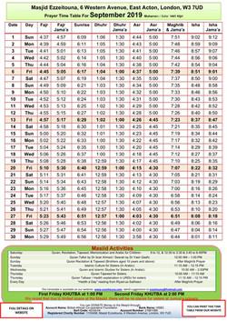 Prayers Timetable for September 2019- Ma