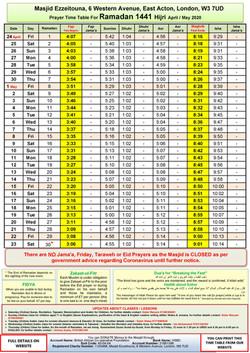Prayers Timetable for Ramadan 2020- Masj