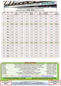 Prayers Timetable for May 2018- Masjid Ezzeitouna