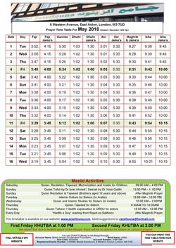 Prayers Timetable for May 2018- Masjid Ezzeitouna