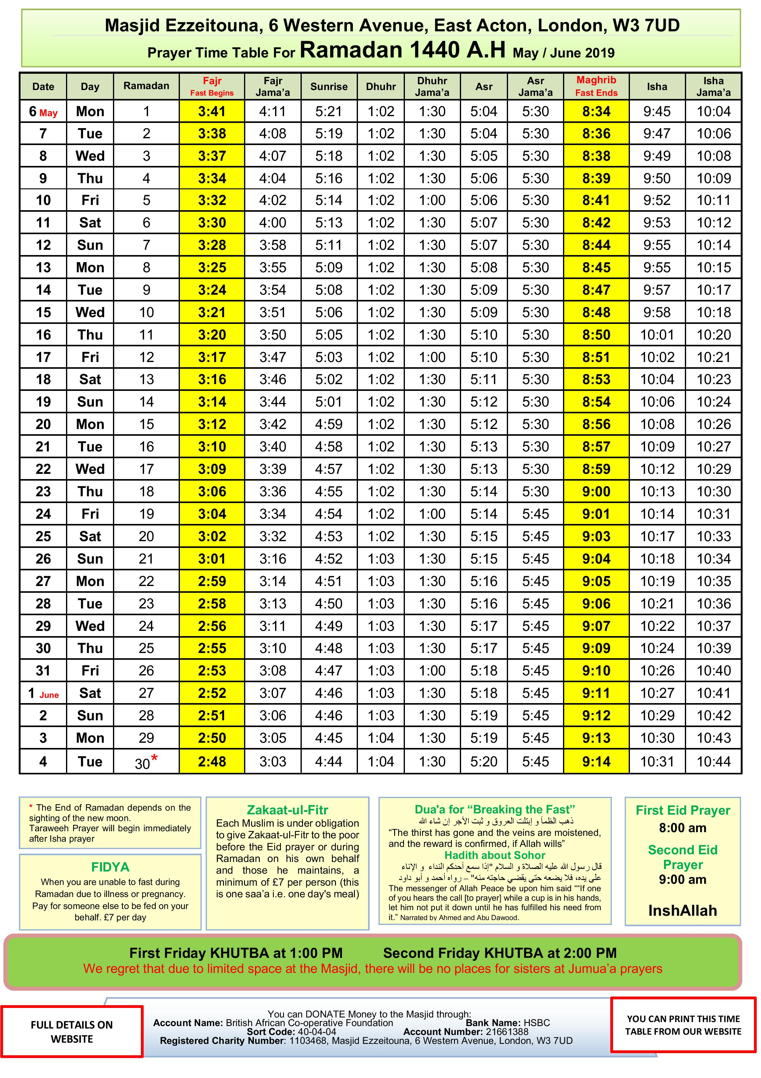 Prayers Timetable for Ramadan 2019- Masj