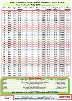 Prayers Timetable for July 2019- Masjid