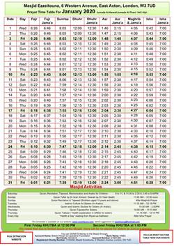 Prayers Timetable for January 2020- Masj
