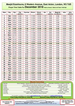 Prayers Timetable for December 2018- Mas