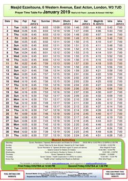 Prayers Timetable for January 2019 - Mas