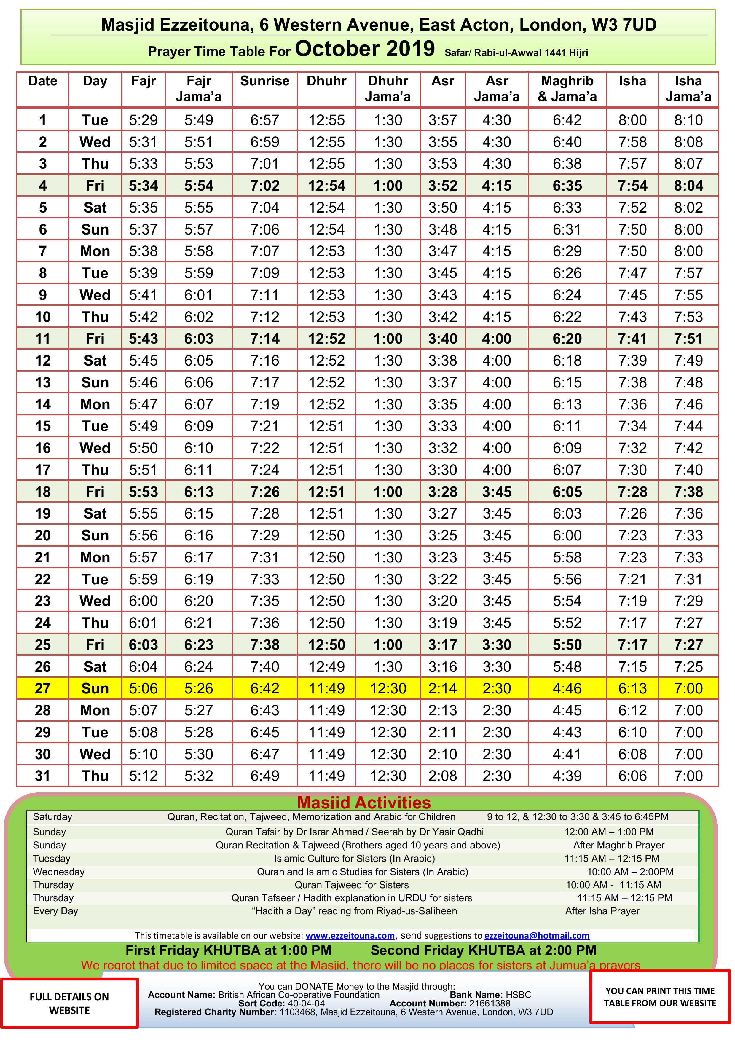 Prayers Timetable for October 2019- Masj