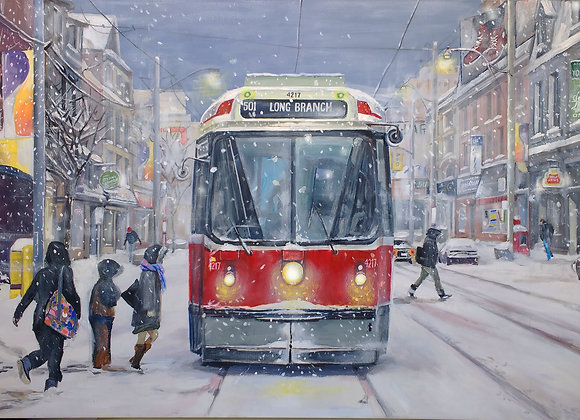 Medium Print Winter in Toronto 501 Queen Streetcar