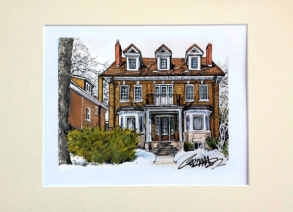 Custom Home Illustration- Colour/Matted