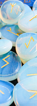 Set of runes for fortune telling laid ou