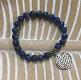 Bracelet Lapis Lazuli avec charme Fleur