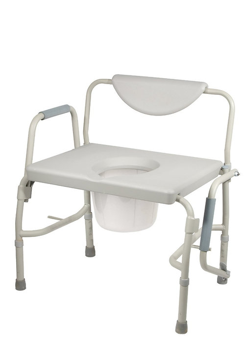 Deluxe Bariatric Drop-Arm Commode, Grey, 500 lbs