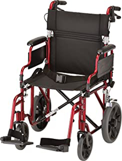 """19"""" Lightweight Transport Chair with 12"""" Rear Wheels"""