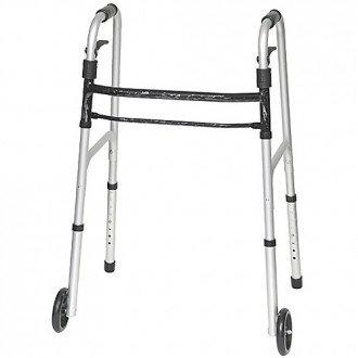 "Sure Lever Release Folding Walker with 5"" Wheels"
