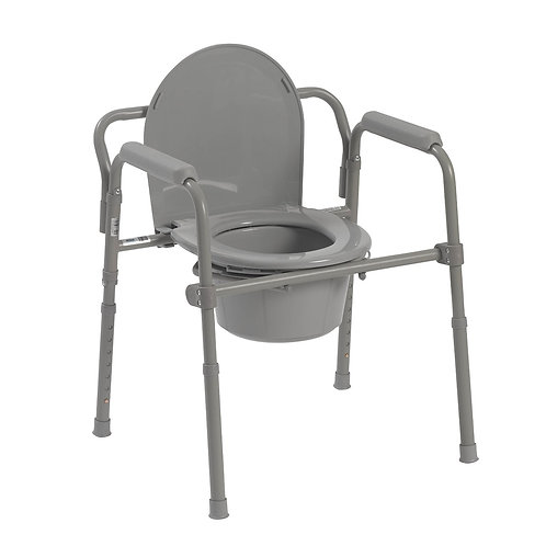 Folding Steel Bedside Commode, 350 lbs