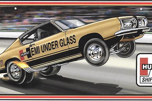 Hemi Under Glass Wheelstander License Plate Sign