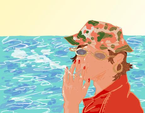 Smoking by the sea