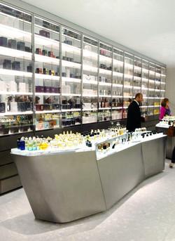 perfume display tables and vitrine