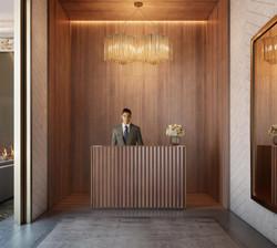 london condos - entry lobby desk