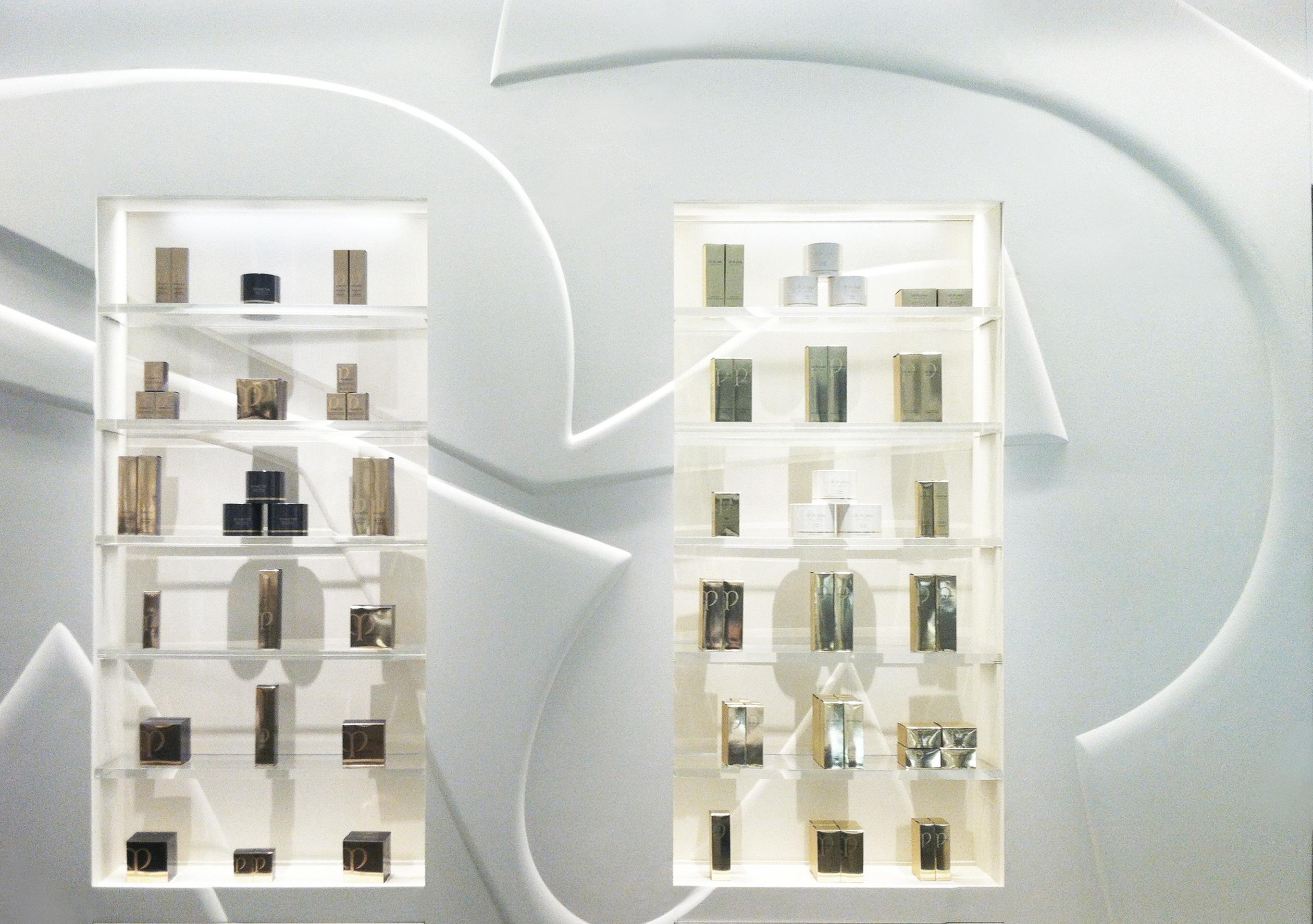 cosmetics display wall
