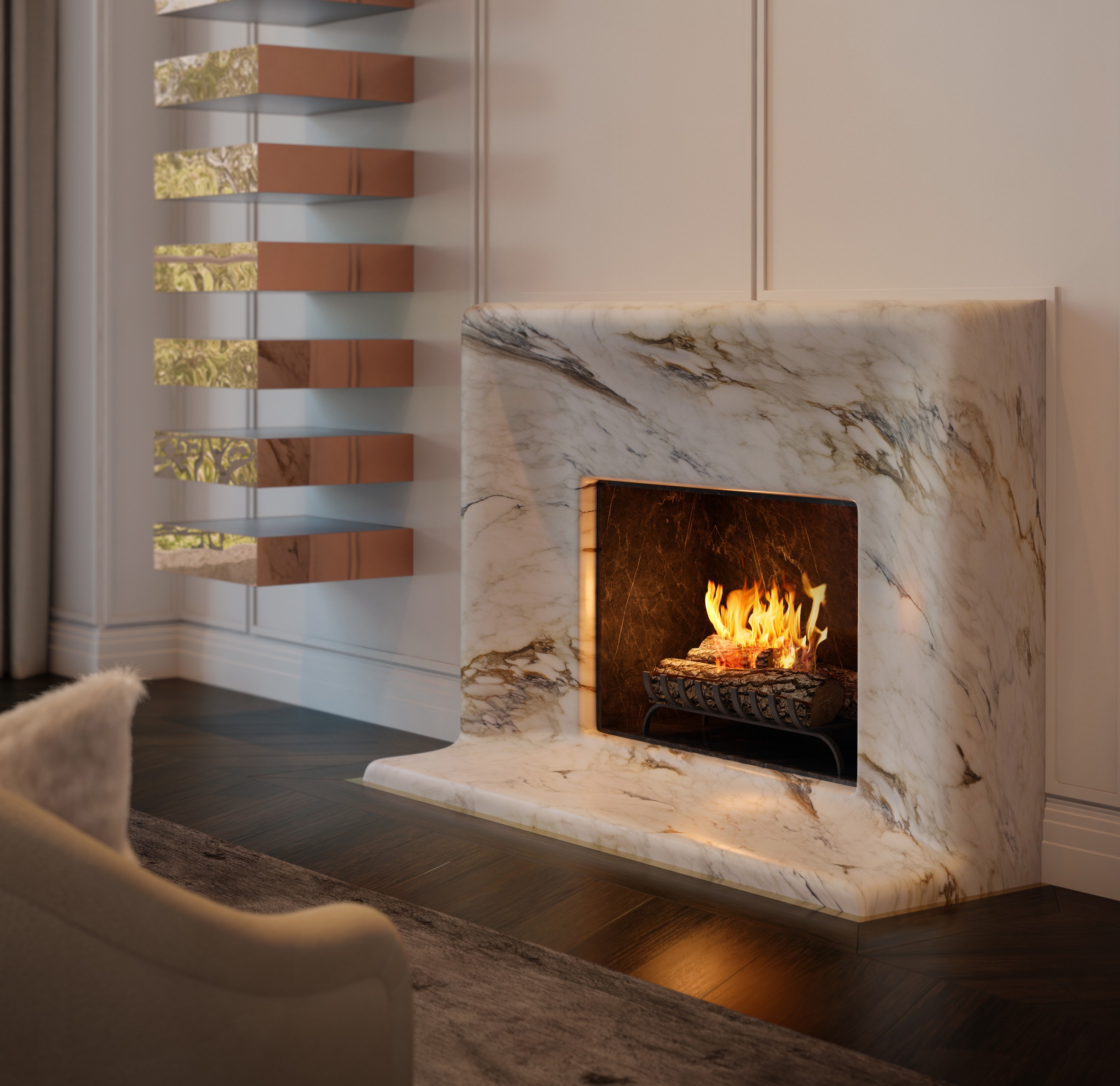 london condos - fireplace detail