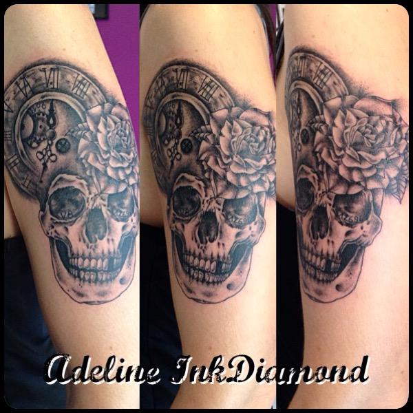 InkDiamond skull horloge tattoo