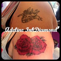 InkDiamond roses cover tattoo