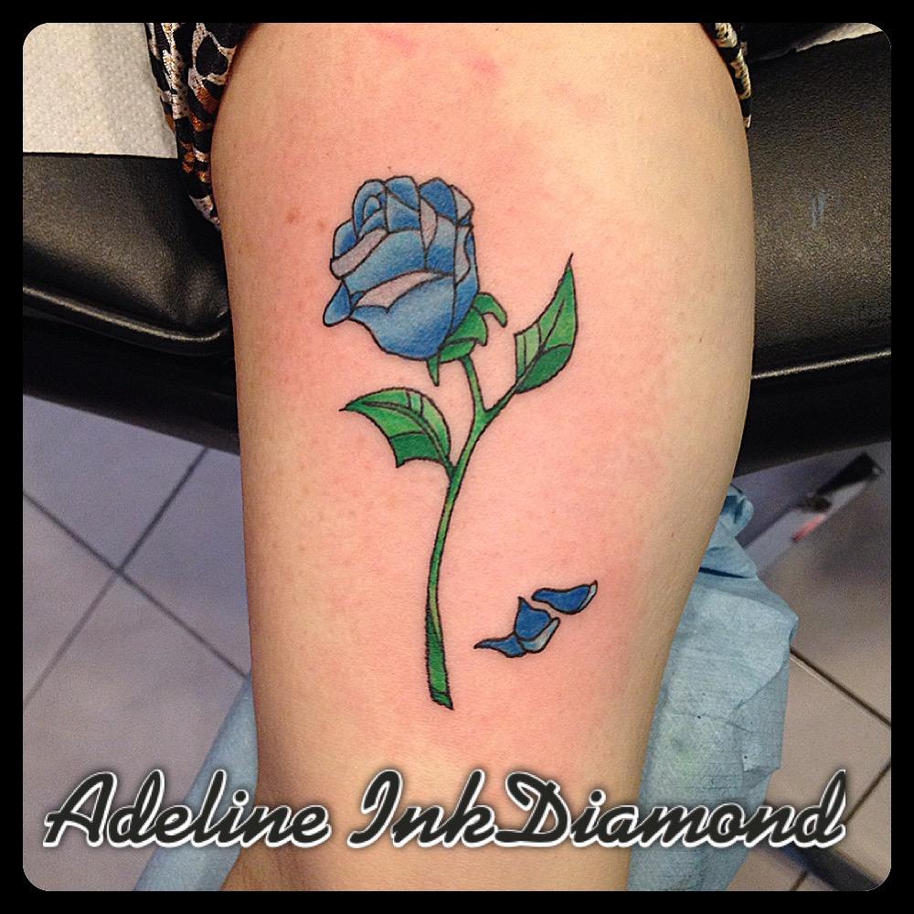 InkDiamond rose bleue tattoo